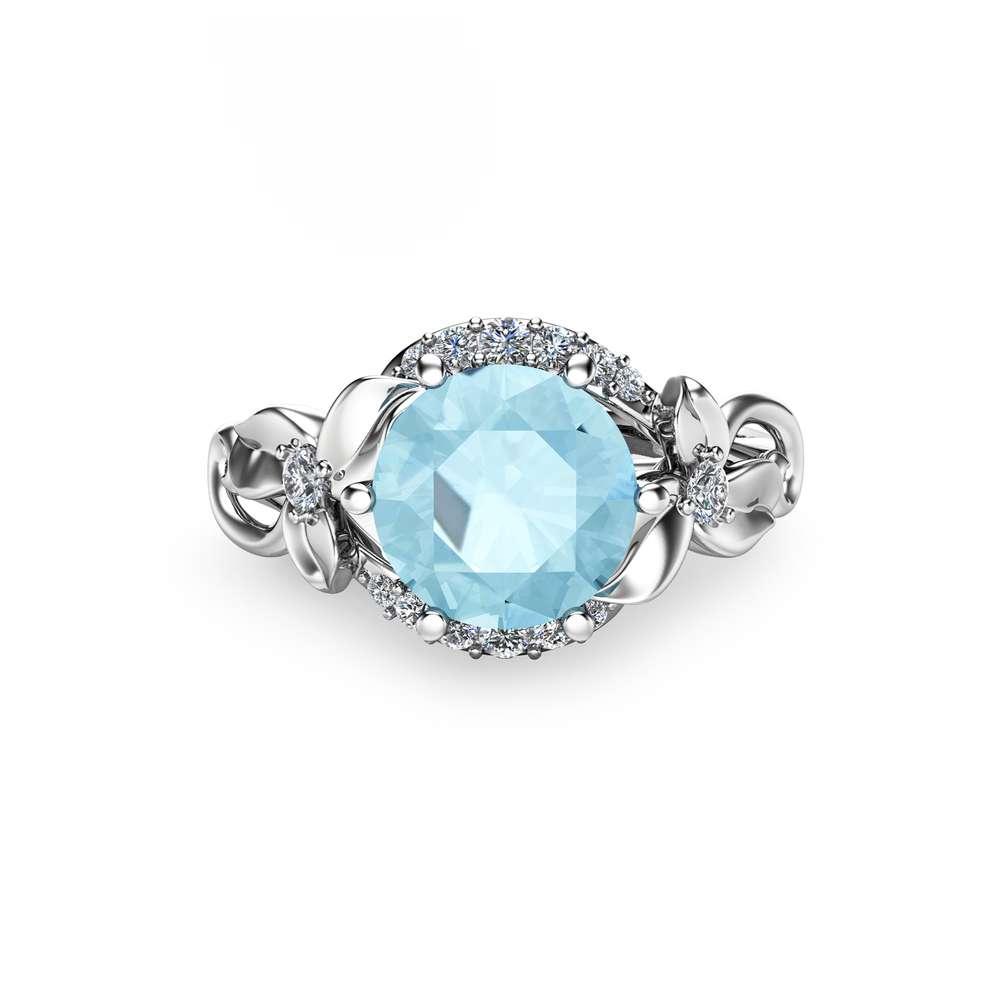 Blue Moissanite Engagement Ring White Gold Ring Unique Engagement Ring