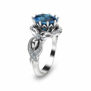 14K White Gold Topaz Engagement Ring Oval Engagement Ring Blue Topaz Engagement Ring November Birthstone