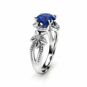 14K White Gold Sapphire Engagement Ring  Royal Blue Sapphire Ring Unique Art Deco Engagement Ring