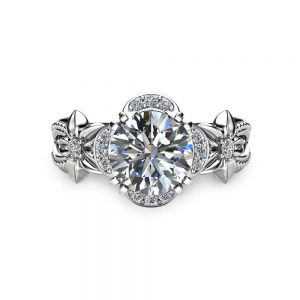 1ct Moissanite Flower Engagement Ring 14K White Gold Moissanite Ring Flower Engagement Ring