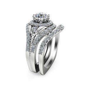 Unique Moissanite Bridal Set 14K White Gold Engagement Rings Art Deco Bridal Ring Set