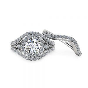Unique Moissanite Bridal Set 14K White Gold Engagement Rings Art Deco Bridal Ring Set