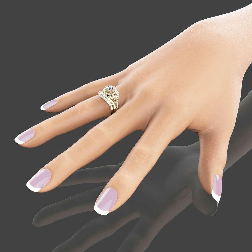 14K Yellow Gold Moissanite Engagement Set Unique Moissanite Bridal Set Art Deco Bridal Ring Set