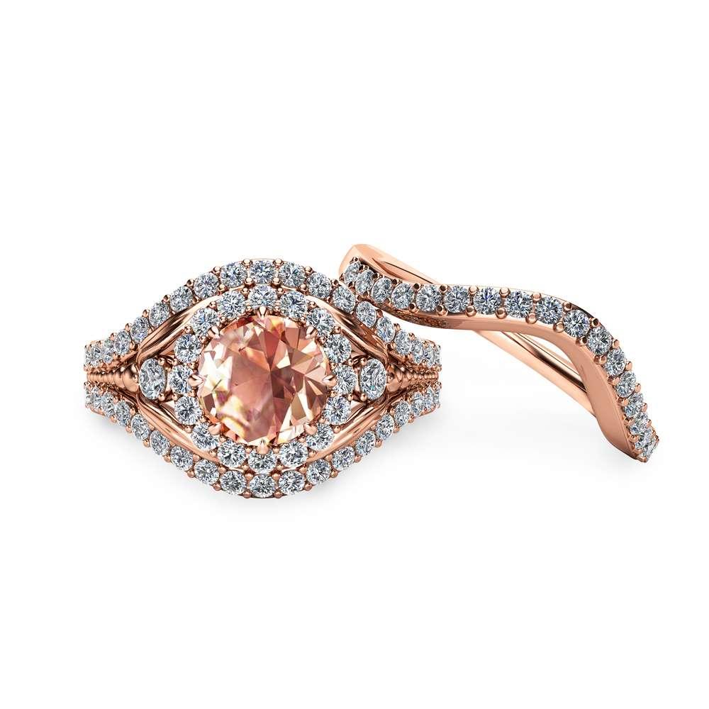 Peach Pink Morganite Bridal Set 14K Rose Gold Engagement Rings Art Deco Morganite Ring Set