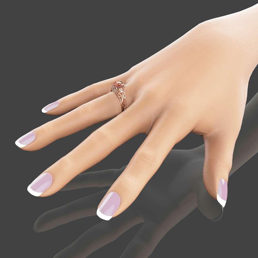 Peach Pink Morganite Engagement Ring 14K Rose Gold Cushion Ring Unique Cushion Cut Morganite Ring Art Deco Ring