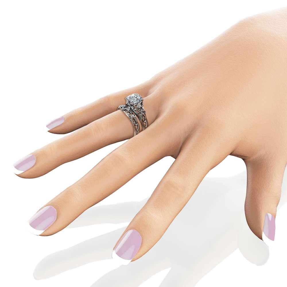 2 Carat Moissanite Engagement Ring Set 14K White Gold Engagement Rings Unique Art Deco Design Ring Set
