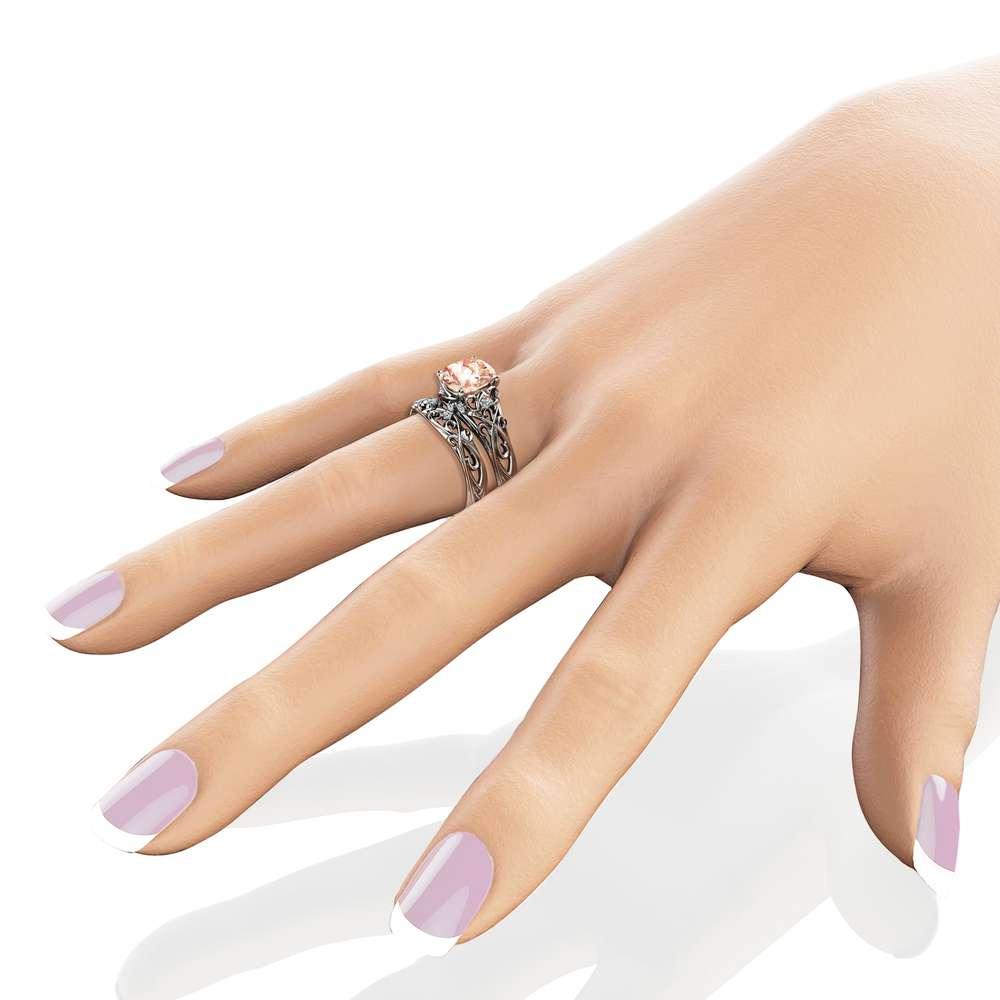Peach Pink Morganite Bridal Set  14K White Gold Morganite Engagement Rings Art Deco Styled Bridal Ring Set Filigree White Gold Rings