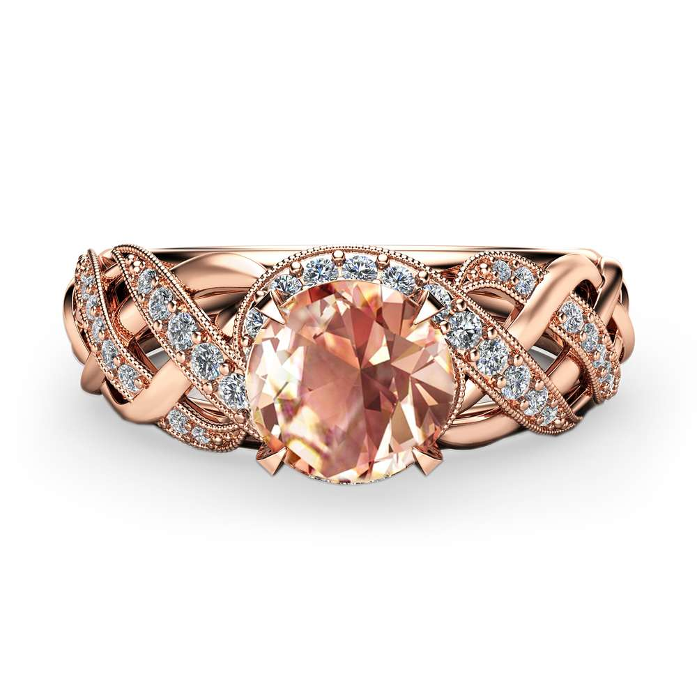 Unique Morganite Engagement Ring  Solid 14K Rose Gold Ring Art Deco Morganite  Ring Handmade Engagement Ring