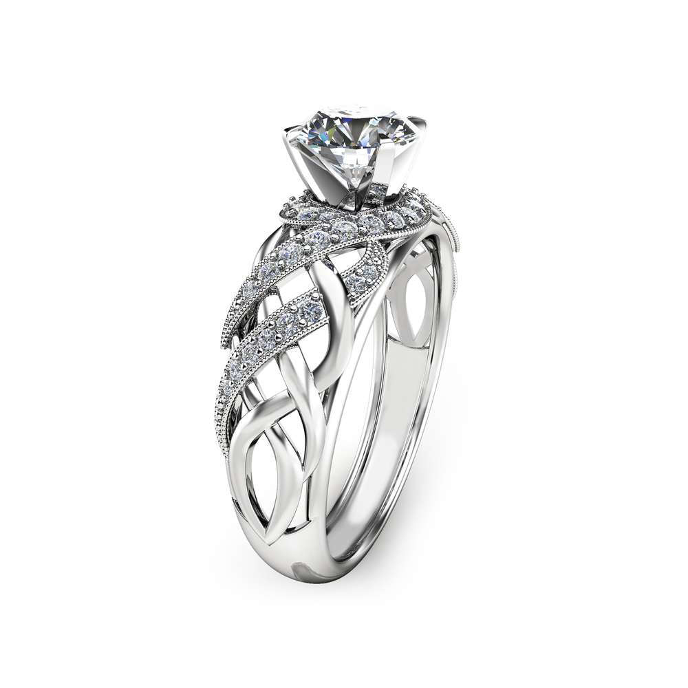 Unique Moissanite Engagement Ring Solid 14K White Gold Ring Art Deco Moissanite Ring Handmade Engagement Ring
