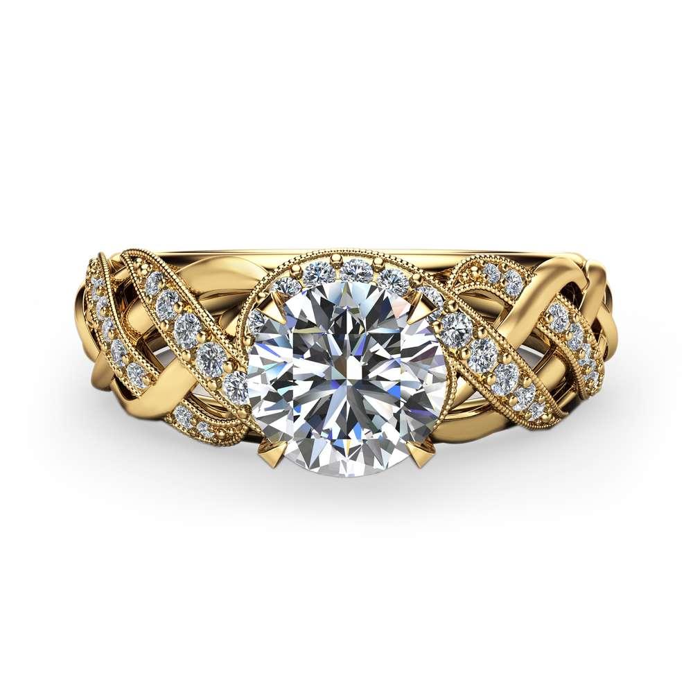 Unique Moissanite Engagement Ring Solid 14K Yellow Gold Ring Art Deco Moissanite Ring Handmade Engagement Ring