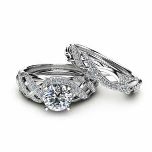 Moissanite Bridal Set in 14K White Gold Unique Engagement Rings Art Deco Styled Bridal Ring Set Filigree Rings