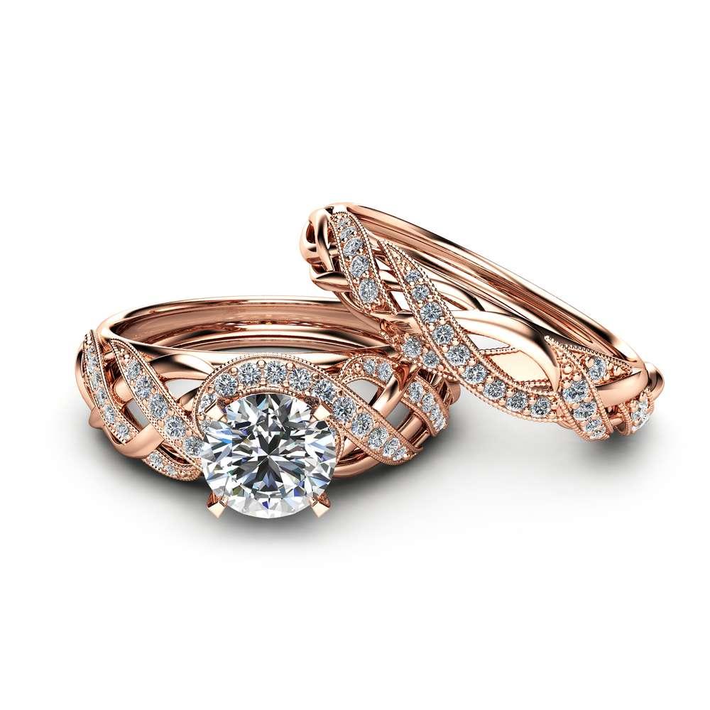 Moissanite Bridal Set in 14K Rose Gold Unique Engagement Rings Art Deco Styled Bridal Ring Set Filigree Rings