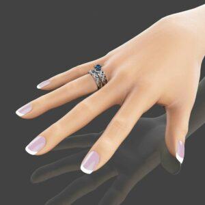 London Blue Topaz Bridal Set in 14K White Gold Unique Engagement Rings Art Deco Styled Bridal Ring Set Filigree Rings