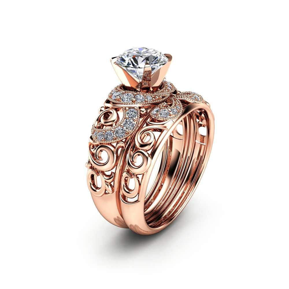 14K Rose Gold Moissanite Bridal Set Unique Engagement Rings Art Deco Engagement Ring Filigree Bridal Ring Set