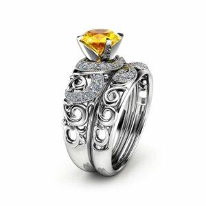 Gemstone Engagement Ring Set 14K White Gold Rings Yellow Sapphire Engagement Rings Choose Your 1 CT Gemstone Ring