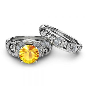 Gemstone Engagement Ring Set 14K White Gold Rings Yellow Sapphire Engagement Rings Choose Your 1 CT Gemstone Ring