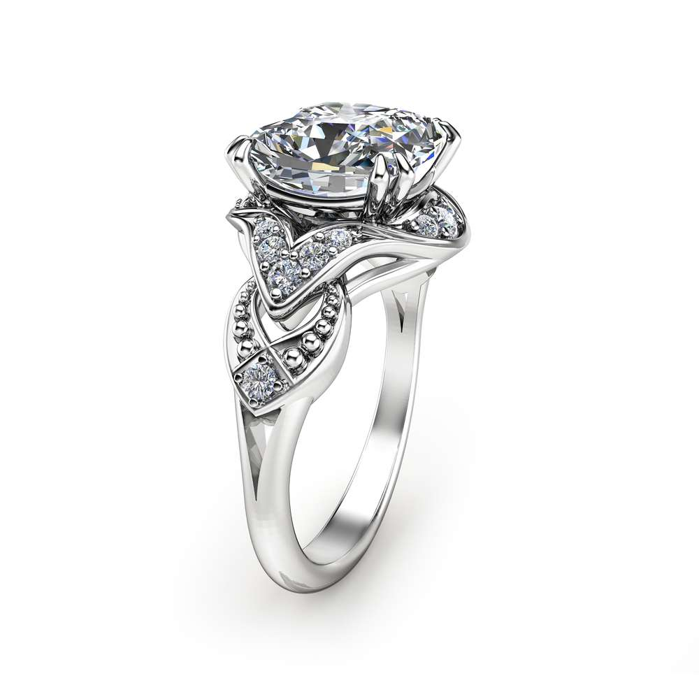 Cushion Cut Moissanite Ring 14K White Gold Engagement Ring Unique Cushion Cut Engagement Ring Art Deco Ring