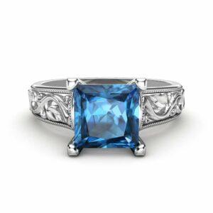 Princess Cut Blue Topaz Ring in 14K White Gold Unique 2 Carat Topaz  Ring  Princess Cut Engagement Ring Art Deco Ring