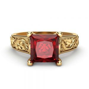 Princess Cut Lab Created  Ruby  Engagement Ring in 14K Yellow Gold Unique Ruby Ring Princess Cut Engagement Ring Art Deco Ring