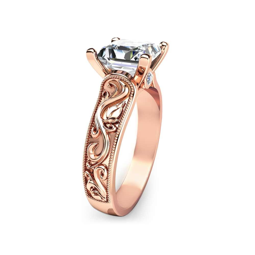 Princess Cut Moissanite Engagement Ring in 14K Rose Gold Unique 2 Carat Moissanite Ring Princess Cut Engagement Ring Art Deco Ring
