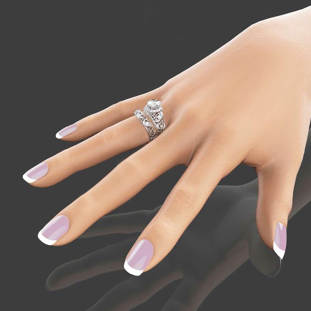 Forever Brilliant Moissanite Engagement Ring Set Unique Moissanite Wedding Ring Set 14K White Gold Art Deco Rings Filigree Moissanite Rings