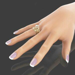 Forever Brilliant Moissanite Engagement Ring Set Unique Moissanite Wedding Ring Set 14K Yellow Gold Art Deco Rings Filigree Moissanite Rings