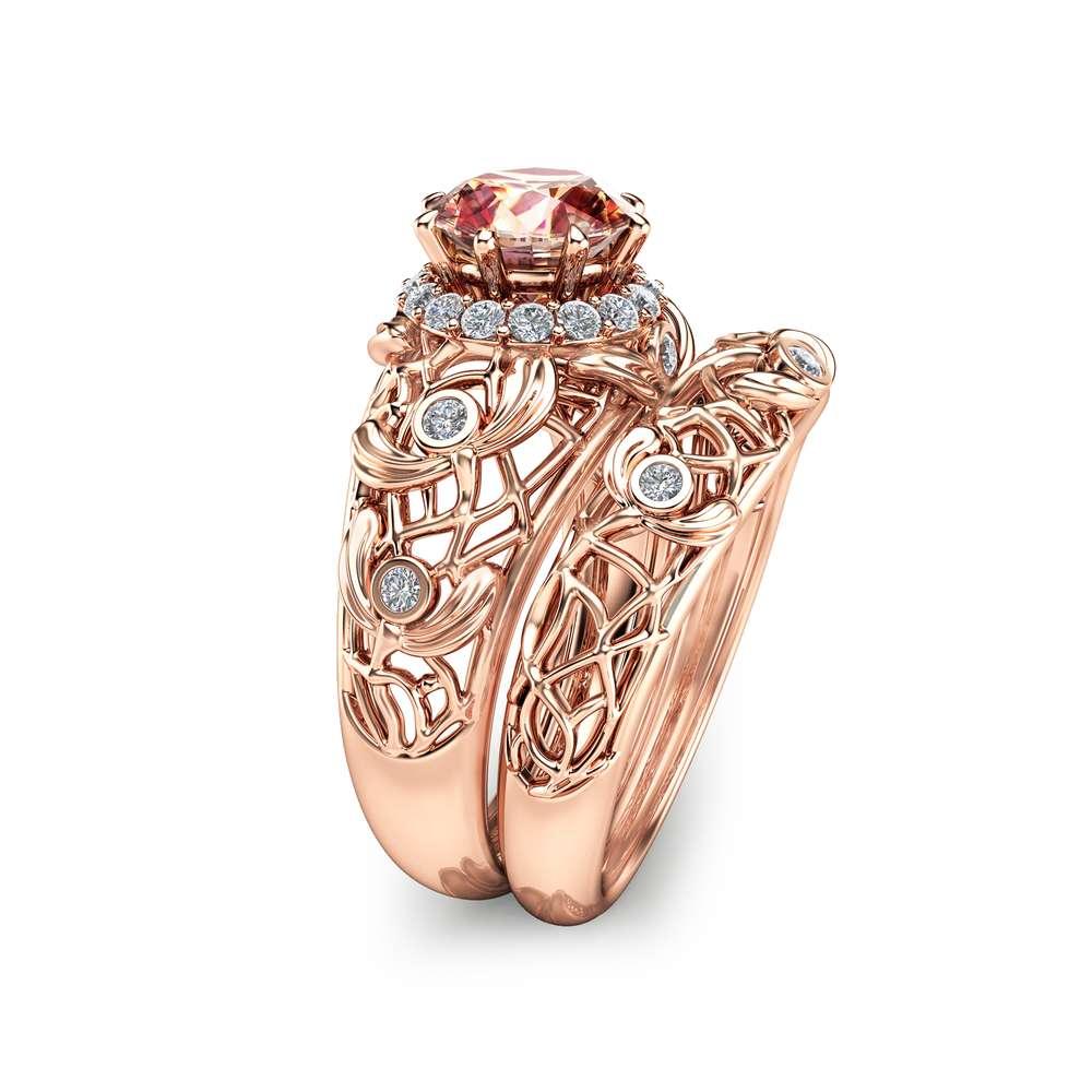 Peach Pink Morganite Engagement Ring Set Unique Morganite Wedding Ring Set 14K Rose Gold Art Deco Rings Filigree Rose Gold Rings