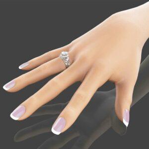 Unique Moissanite Engagement Ring 14K White Gold Moissanite Engagement Ring Forever Brilliant Moissanite Ring