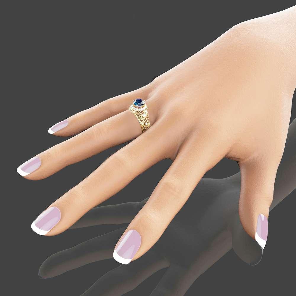 14K Gold Topaz Engagement Ring Unique Engagement Ring Blue Topaz Ring November Birthstone