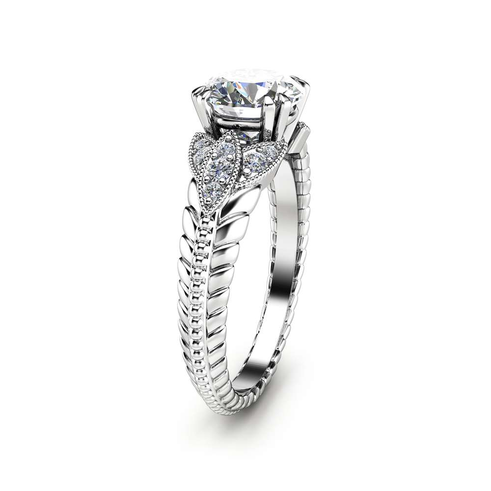Round Cut Moissanite Engagement Ring Unique 14K White Gold Ring Art Deco Styled Engagement Ring