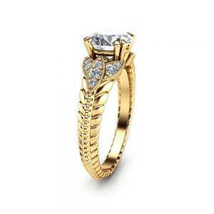 Round Moissanite Engagement Ring Unique 14K Yellow Gold Ring  Art Deco Styled Engagement Ring