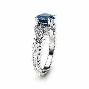 London Blue Round  Topaz Engagement Ring Unique 14K White Gold Topaz Ring Art Deco Styled Engagement Ring