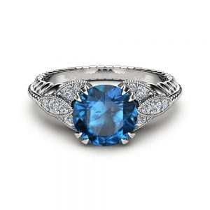 London Blue Round  Topaz Engagement Ring Unique 14K White Gold Topaz Ring Art Deco Styled Engagement Ring