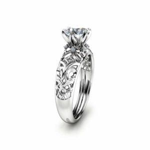 14K White Gold Moissanite Engagement Ring Milgrain Engagement Ring Moissanite Vintage Ring