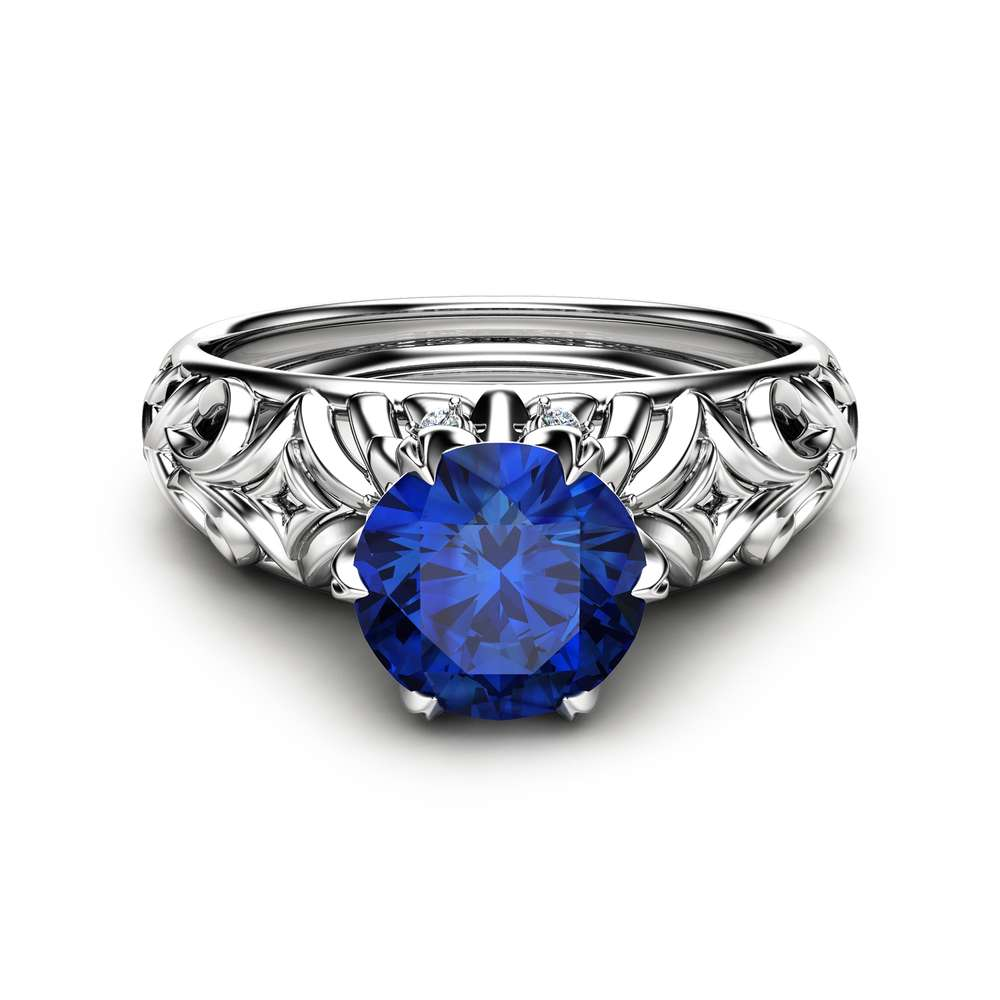 1CT Natural Blue Sapphire Ring 14K White Gold Ring Sapphire Engagement Ring Choose Your 1ct Gemstone Ring