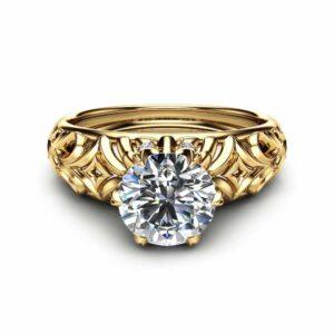 14K Yellow Gold Moissanite Engagement Ring Milgrain Engagement Ring Moissanite Vintage Ring