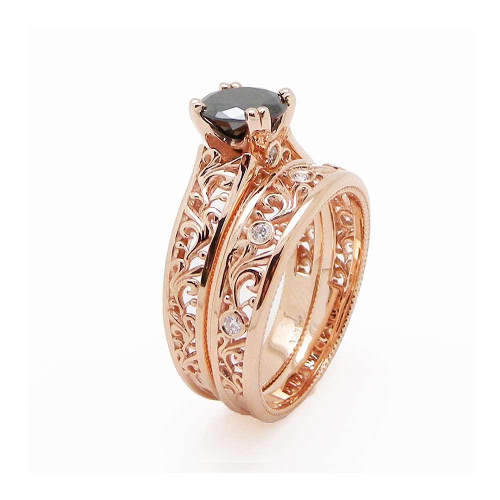 Black Diamond Engagement Matching Rings 14K Rose Gold Filigree Rings Natural Black Diamond Engagement Ring Set