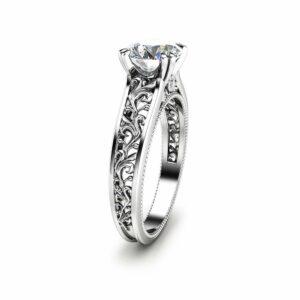 Unique Moissanite Engagement Ring 14K White Gold Engagement Ring Art Deco Moissanite Ring