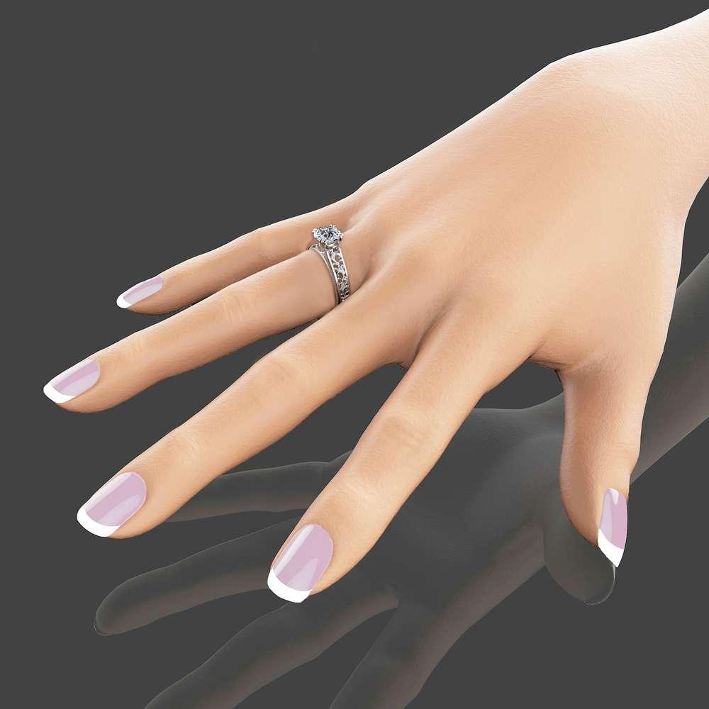 Unique Natural Diamond Engagement Ring 14K White Gold Engagement Ring Art Deco Bridal Ring Filigree Ring