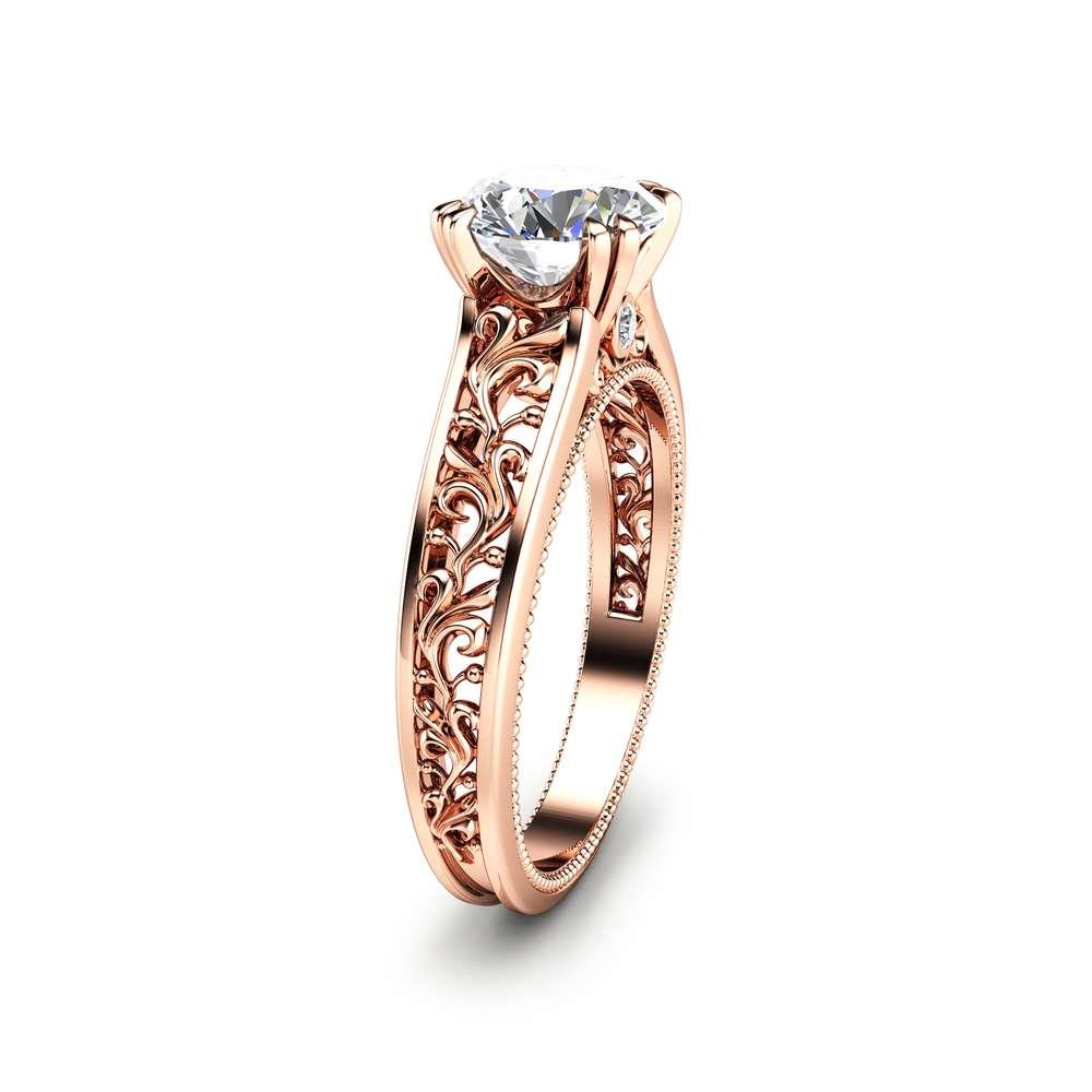 Antique Design Engagement Ring 14k Rose Gold Moissanite Engagement Ring Rose Gold Engagement Ring Camellia Jewelry
