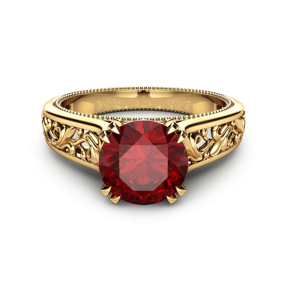 14K Yellow Gold Ruby Engagement Ring Ruby Engagement Ring Art Deco Bridal Ring Unique Filigree Gemstone Ring