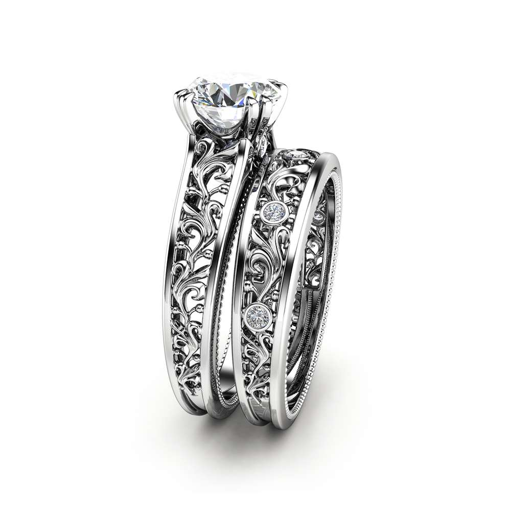 Unique Engagement Rings 14K White Gold  Moissanite Engagement Ring Filigree Engagement Rings