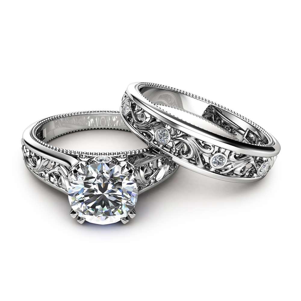 Unique Engagement Rings 14K White Gold  Moissanite Engagement Ring Filigree Engagement Rings
