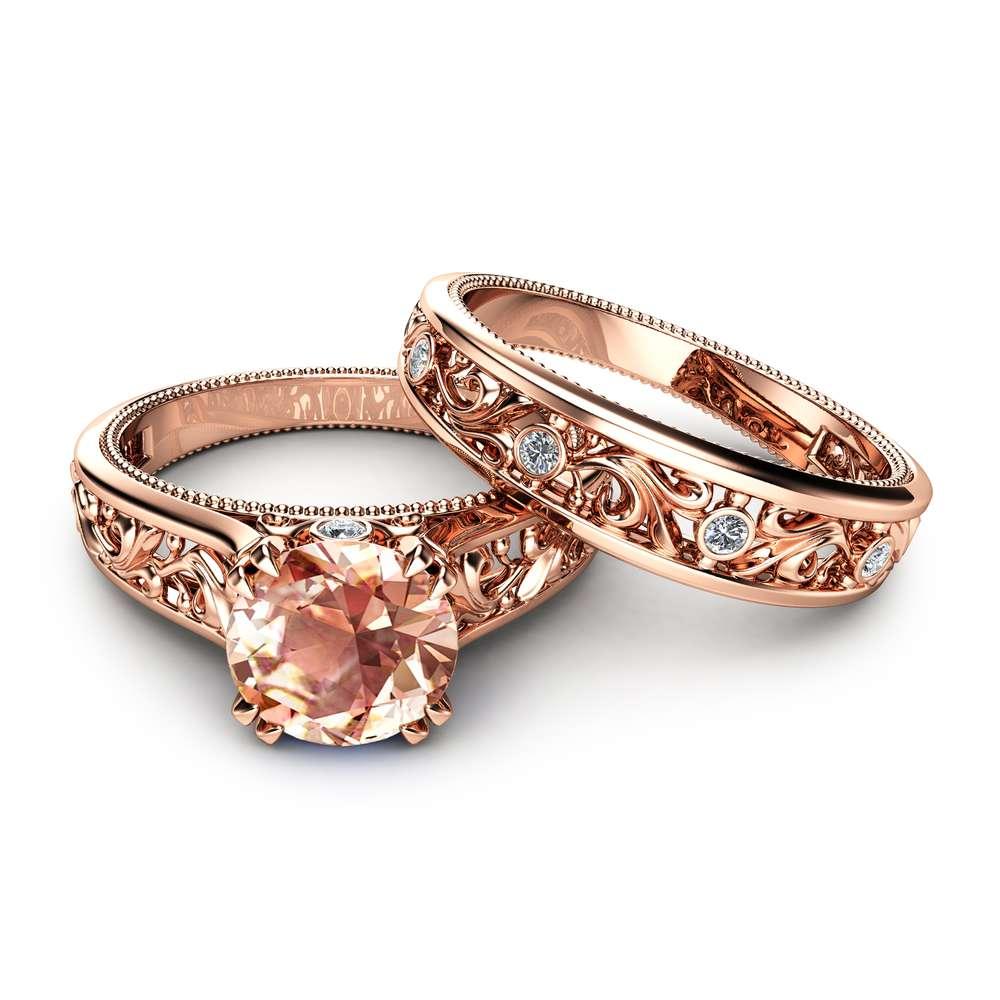 Peach Pink Morganite Bridal Set  14K Rose Gold Morganite Engagement Rings Art Deco Styled Bridal Ring Set Filigree Rose Gold Rings