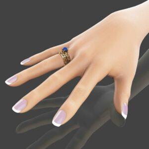 Unique Blue Sapphire Engagement Ring Set 14K Yellow Gold Sapphire Engagement Rings Unique Art Deco Bridal Set