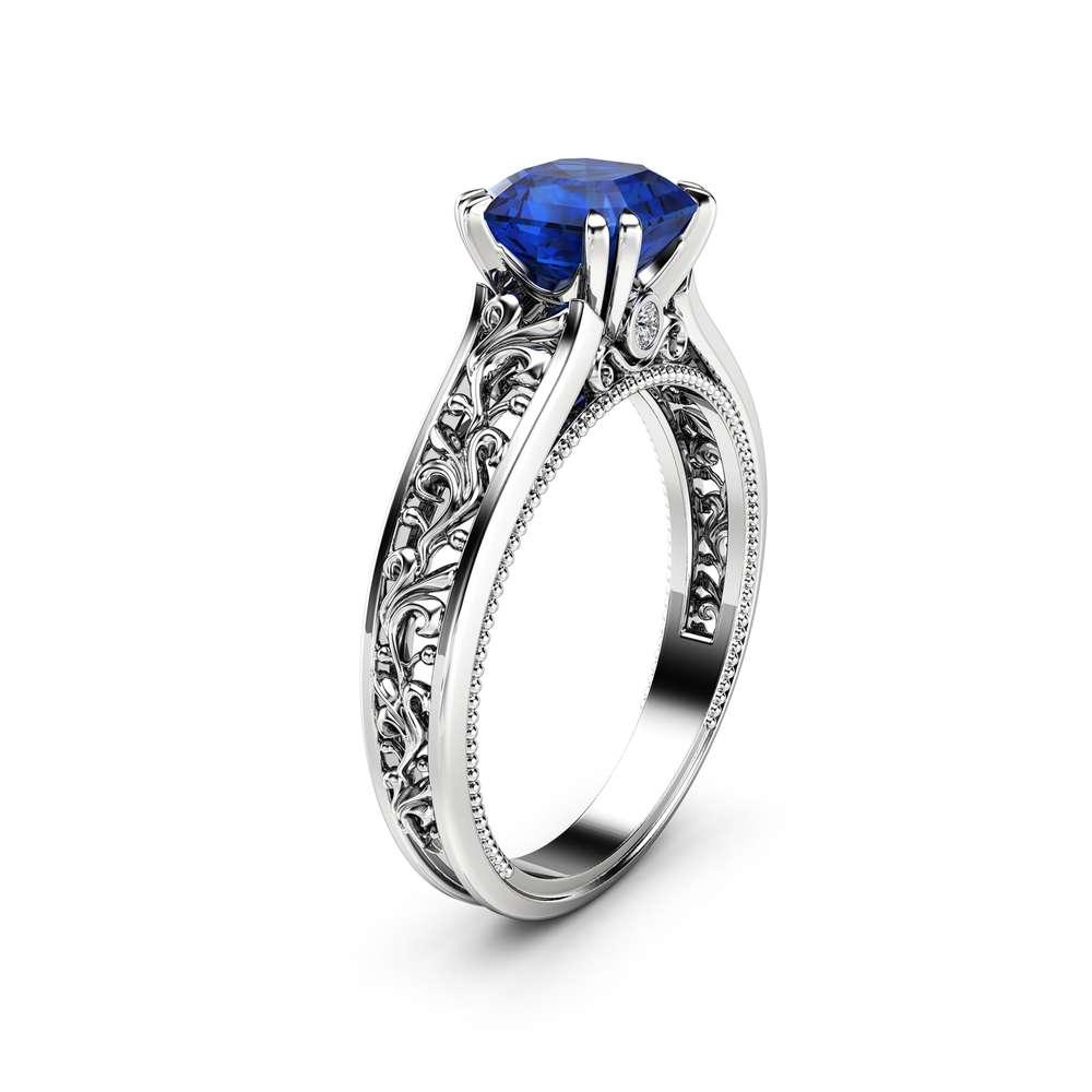 Natural Asscher Sapphire Engagement Ring 14K White Gold Filigree Ring Sapphire Asscher Engagement Ring