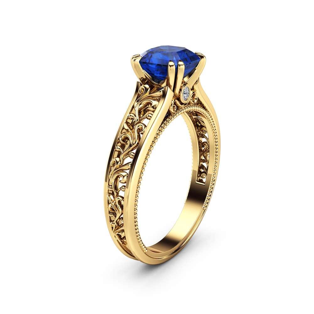Natural Asscher Sapphire Engagement Ring 14K Yellow Gold Filigree Ring Sapphire Asscher Engagement Ring