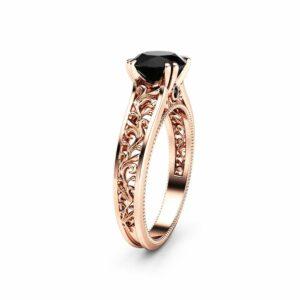 Conflict Free Black Diamond Engagement Ring 14K Rose Gold Art Deco Ring Black Diamond Engagement Ring