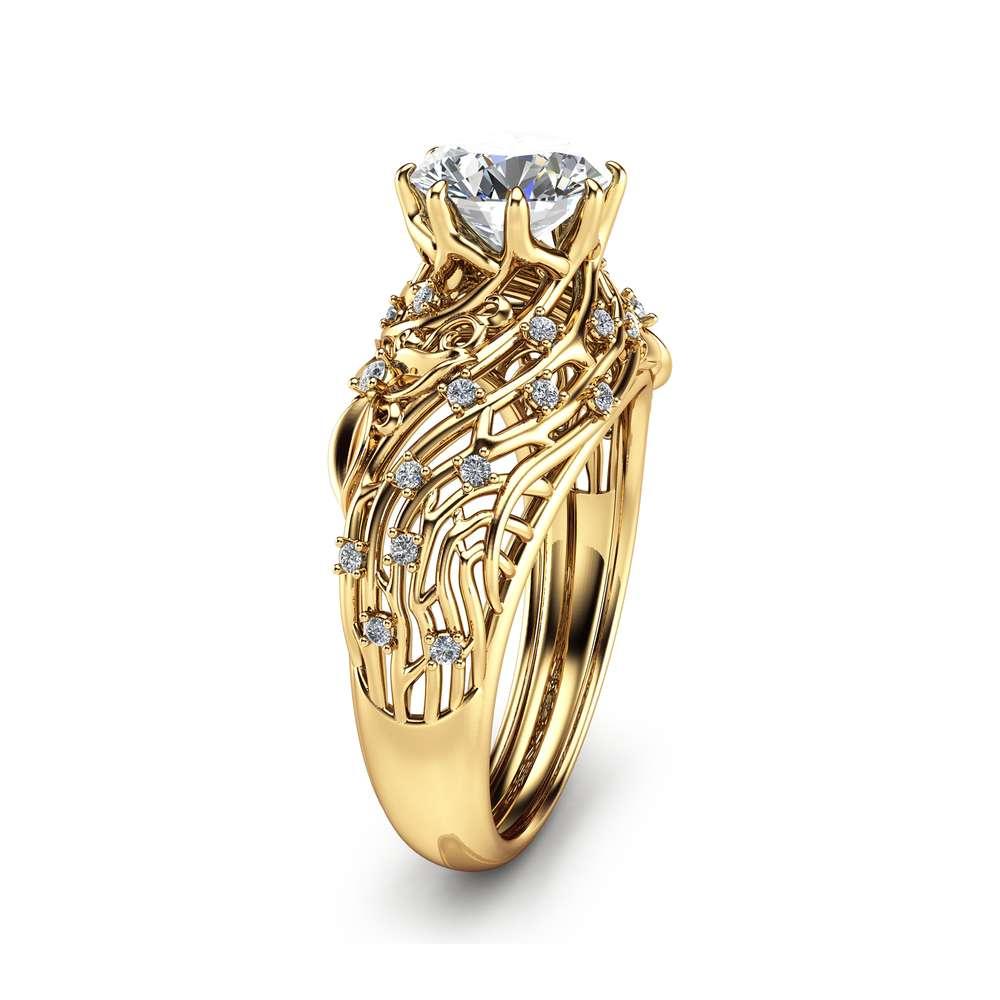 Unique Design Moissanite Engagement Ring Filigree 14K Yellow Gold Engagement Ring Forever Brilliant Moissanite Ring
