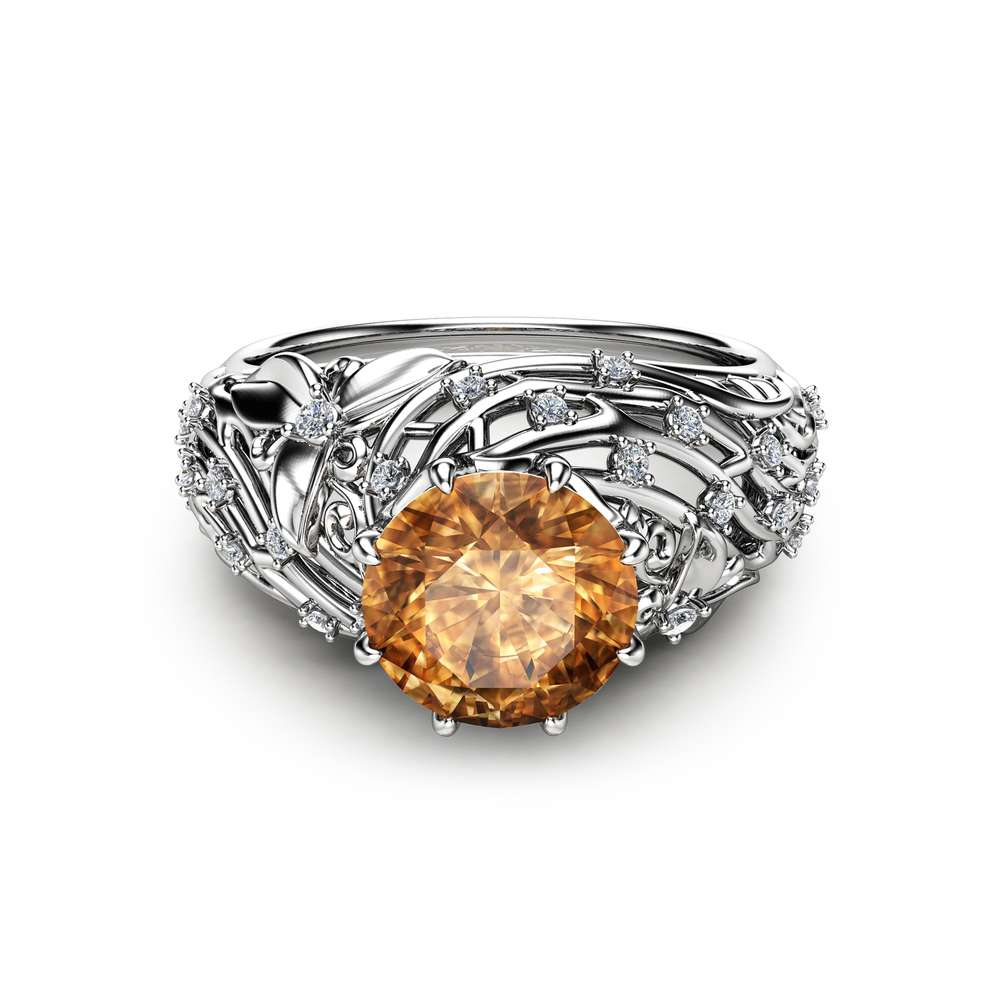 Brown Diamond Engagement Ring 14K White Gold Engagement Ring Brown Diamond Filigree Ring Art Deco Styled  Ring